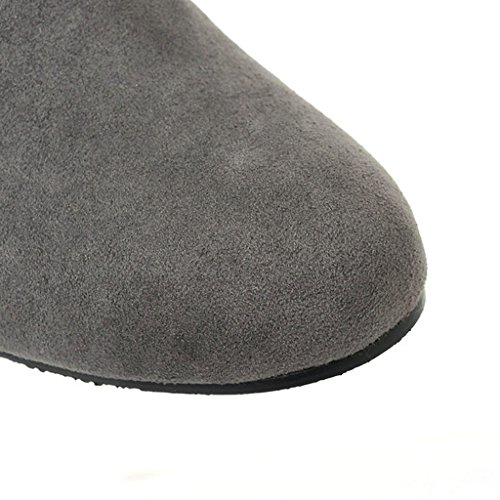 Minetom Damen Winter Warm Schnee Hohe Stiefel Pelzstiefel Flache Schuhe Overknee Stiefel Grau