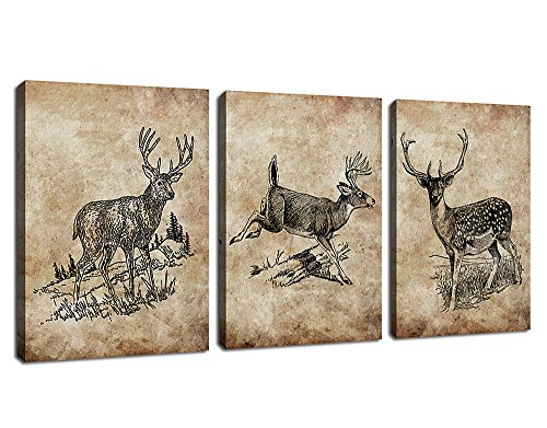 arteWOODS Deer Canvas Wall Art Decor Retro Reindeer Canvas Artwork Vintage Elk Pictures for Home Office Decoration Framed Ready to Hang 12