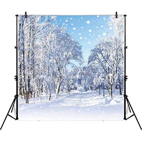 Allenjoy 10x10ft Winter White Snowy Forest Photography Backd