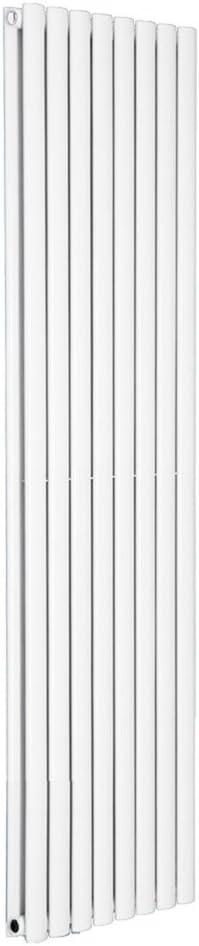 Free Angled Valves NRG Vertical Designer White Double Panel Oval Column Radiator 1800x472mm Bathroom Central Heating