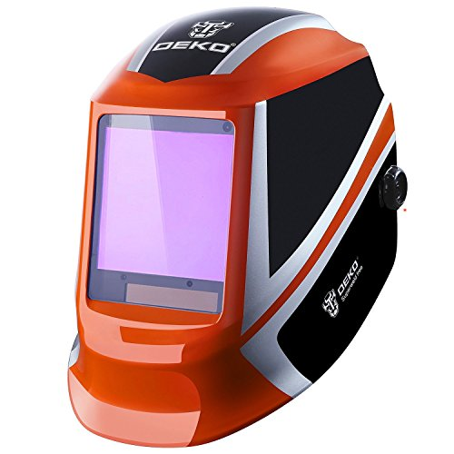 DESOON Solar Power Auto Darkening Welding Helmet with Wide Lens Adjustable Shade Range 4/9-13 for Mig Tig Arc Weld Grinding Welder Mask (orange) ...