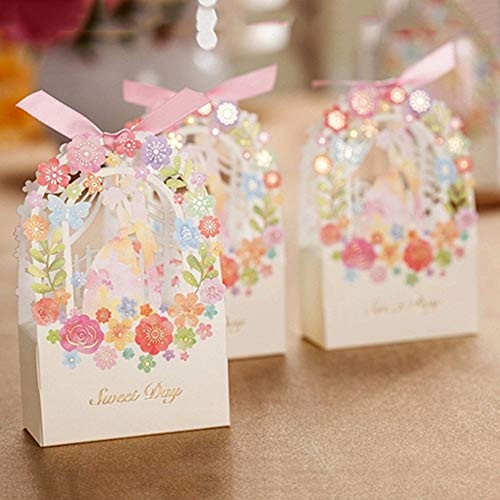 Gift Candy Box - 2pcs Set Romantic Wedding Favors Decor Diy Candy Cookie Gift Boxes Party Box - Invitation Candy Wedding Favors Cards Card Invitations Rings Decorative Gift Party Mint Dress ()