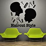 Wall Decal Decor Decals Art Sticker Haircut Style Barbershop Brush Scissors African American Head Master Stylist (M742)