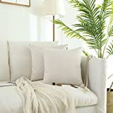 Decorative Pillow Cover - Kevin Textile Checkered Weaving Cotton Linen Decorative Square Throw Cushion Covers Pillowcase for Sofa, 2 Packs, 18 x 18 Inch (45 x 45cm), Light Beige