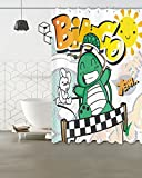 Children Shower Curtain Decor,Tortoise and Hare racing bingo game,Polyester Fabric Waterproof Bathroom Decor Shower Curtain Set with 12 Hooks,60X72 Inches