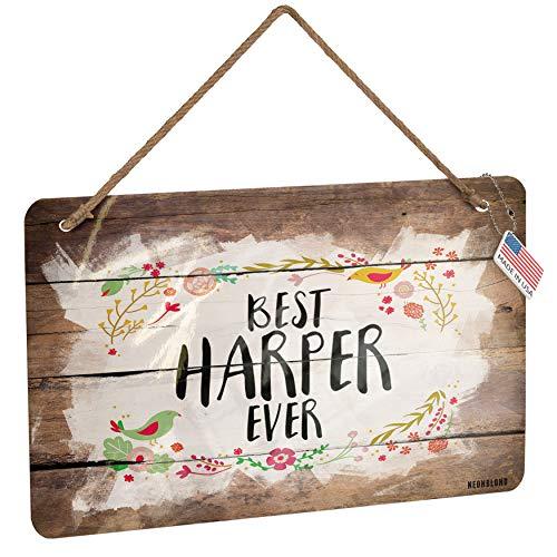 NEONBLOND Metal Sign Happy Floral Border Harper Christmas Wood Print