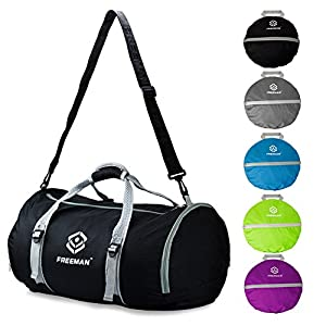 Foldable Sports Duffel Gym Bag for Women Men with Shoe Compartment, Lightweight Waterproof, Travel Carry on Weekend Bag