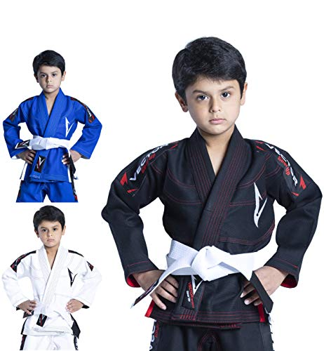 Vector Sports 100% Cotton Pearl Weave Kids Brazillian Jiu Jitsu BJJ Gi Attila Series Kimono Lightweight Preshrunk Fabric with Free White Belt (Black, K00)