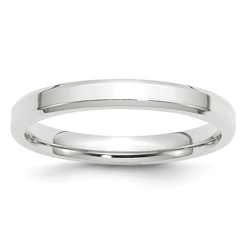 10k White Gold 3mm Bevel Edge Comfort Fit Band Size 7.5