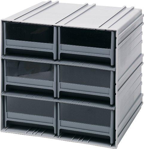 Quantum Interlocking Gray Storage Cabinet with 6 Gray Drawers, 11.38-Inch by 11-3/4-Inch by 11-Inch by Quantum Storage Systems