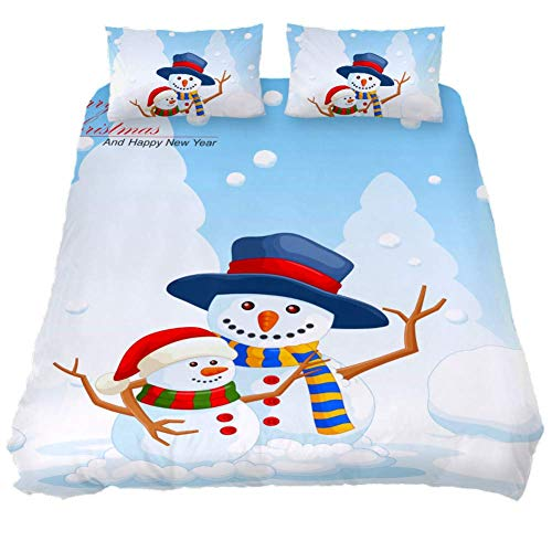 MaoLong Winter Happy Snowmen Twin Quilt Bedding Set 3 Piece Comforter Bed Set Duvet Cover Quilted Coverlets for Boys Girls Women Men