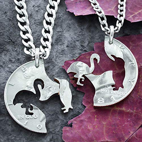 Penguin and Flamingo Necklaces, Best Friends, Interlocking Gifts, Hand cut coin Jewelry, By NameCoins