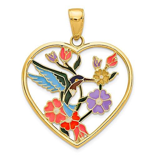 14k Gold Enameled Hummingbird w/Flowers Heart Pendant (1.1 in x 0.87 in) - Gold Hummingbird Pendant