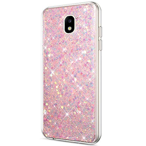 Price comparison product image ikasus Galaxy J7 2018 Case, Galaxy J7 Refine Case, Galaxy J7 Star Case, Galaxy J7 Crown Case, Galaxy J7 V 2nd Gen Case, J7 Aura Case Glitter Bling Paillette Soft Gel TPU Case Cover for Galaxy J7V 2018, Pink