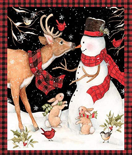 Winter Snowman with Reindeer Panel 36 X 44 Cotton Fabric for sale  Delivered anywhere in USA