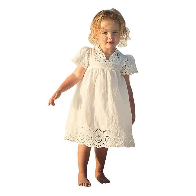 Vestido blanco de las muchachas del verano 2017 - vestidos huecos del día de fiesta de