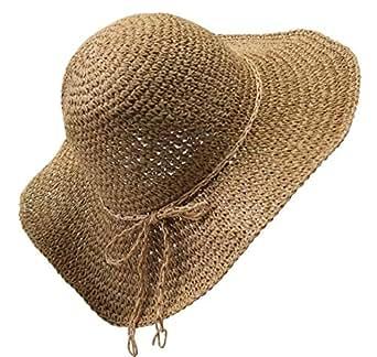 Mecca Women Floppy Sun Hat Brown Hand-Woven Wide Brim Foldable Summer Sunscreen Straw Hat WSH007