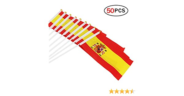 Banderas Pequeñas de Mano 50pcs 14*21cm Bandera Decorativa (España ...