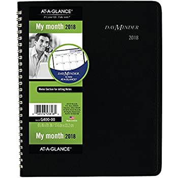 "AT-A-GLANCE DayMinder Monthly Planner, January 2018 - December 2018, 6-7/8"" x 8-3/4"", Black (G40000)"