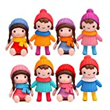Cute Girls Figures Toys, Kimkoala 8Pcs Lovely Plastic Miniature Girls Figurines For Handcraft Fairy Garden Ornaments Micro Landscape Decorations Birthday Cake Toppers Kids Gift