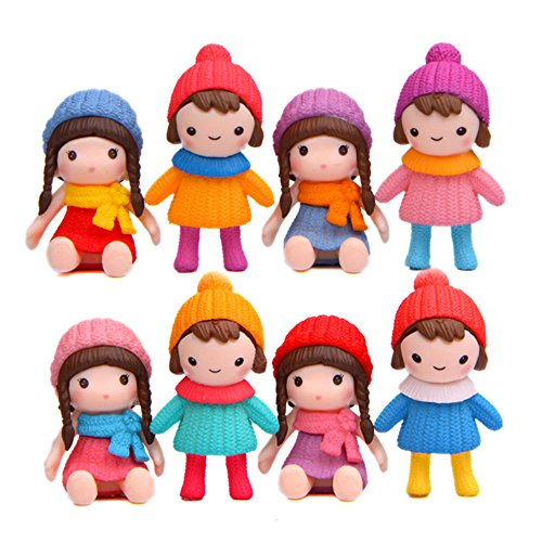 (Cute Girls Figures Toys, Kimkoala 8Pcs Lovely Plastic Miniature Girls Figurines For Handcraft Fairy Garden Ornaments Micro Landscape Decorations Birthday Cake Toppers Kids Gift )