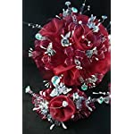 15th-Quinceaera-Burgundy-Silver-Flower-Bouquet-Set-And-Corsage-Ramo-Para-Quinceaera