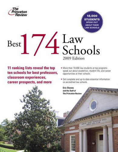 Best 174 Law Schools, 2009 Edition (Graduate School Admissions Guides)