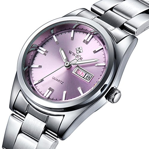 Ladies Wrist Watches for Women Blue face Military Analog Quartz Watches with Calendar Silver Stainless Steel Band (Pink)