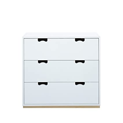 Aprodz Mango Wood Storage Cabinet Bow Chest of 3 Drawers for Living Room | White