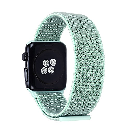 Price comparison product image Pantheon Woven Velcro Nylon Replacement Apple Watch Band by, Sport Loop Edition, For Men or Women, Strap fits the 38mm or 42mm Apple iWatch, Compatible Series 1, 2, 3, Nike (Teal, 38mm)