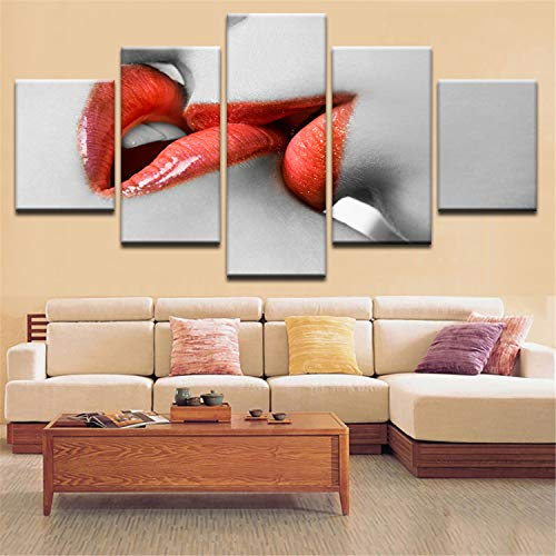 JESC HD Prints Wall Art Modular Canvas Poster Sexy Red Lips Kiss Together Paintings Decoration Living Room Bedroom Frame Pictures