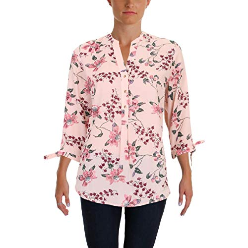 Ivanka Trump Women's Georgette MEATLLIC Floral TIE Sleeve Blouse, Ballet, ()