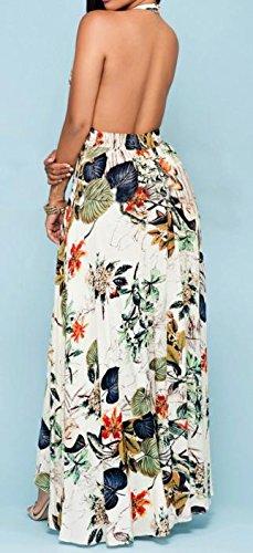 Dress Womens Casual Print Backless Cruiize Slit Halter Apricot Chiffon Beach Zg8wwAxO