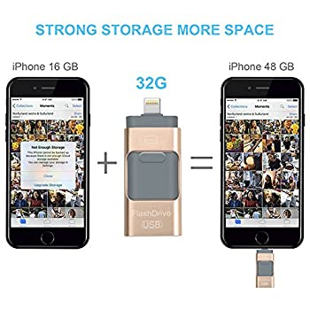 Usb Flash Drives For Iphone 32 Gb 3.0 Pen-drive Memory Storage 3 In 1, Hmfire Otg Jump Drive Lightning Memory Stick External Storage, Usb 3.0 Flash Drives For Apple Ios Android Computers (Gold) 4