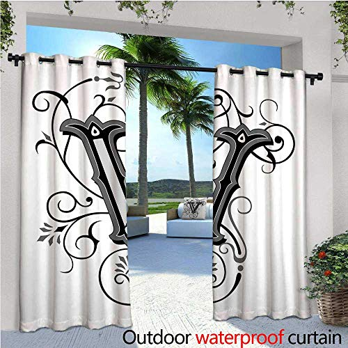 Letter V Outdoor Privacy Curtain for Pergola Gothic Halloween Style Uppercase V with Curved Lines Ivy Stripes Calligraphy Thermal Insulated Water Repellent Drape for Balcony W120
