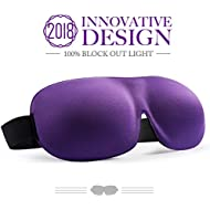 Eye Mask for Sleeping , Woman Sleep Mask , Patented Design 100% Blackout Eye Mask, 3D Contoured Comfortable Eye Cover & Blindfold, Great for Travel / Nap / Night's Sleeping (Medium-Purple)