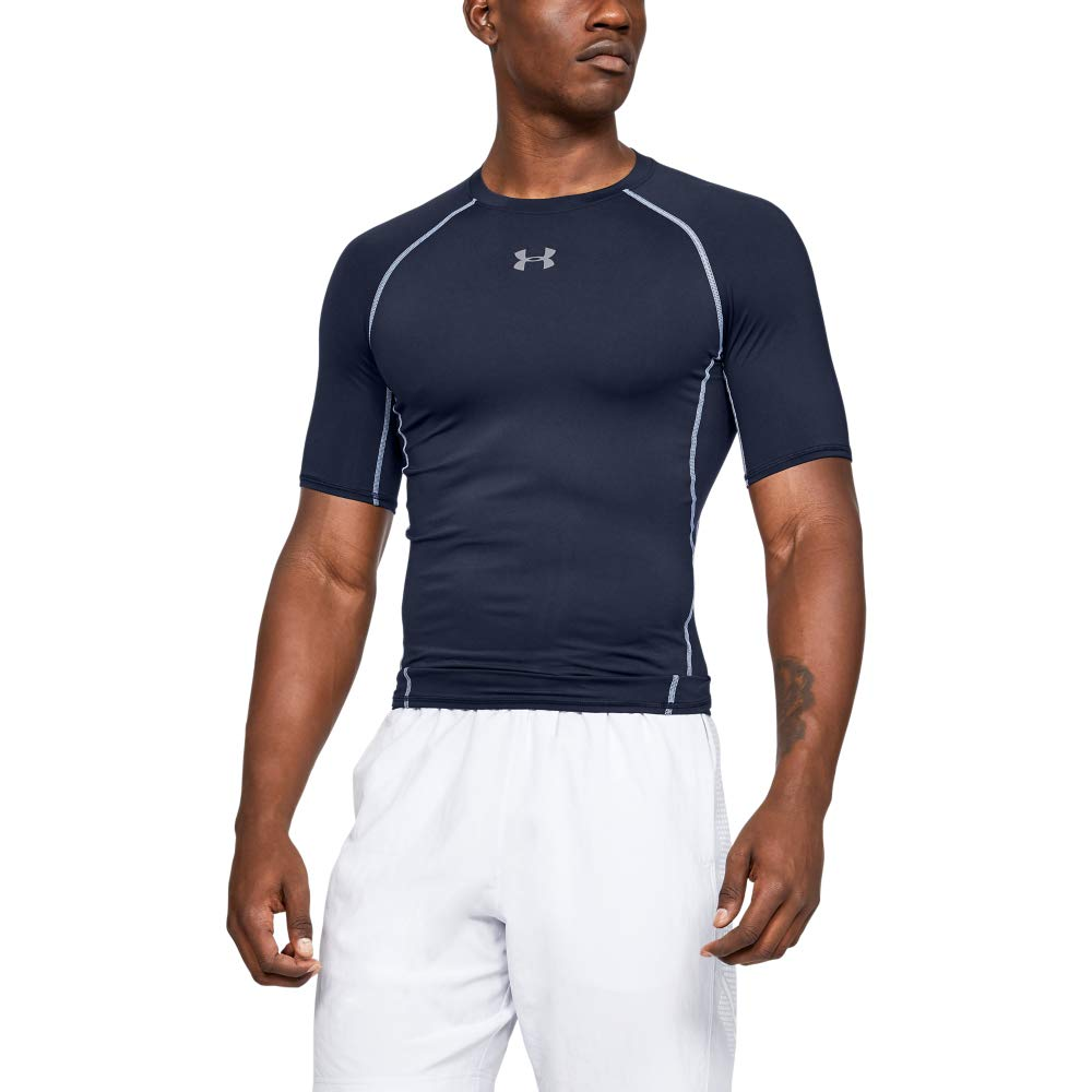 Under Armour Men's HeatGear Armour Short Sleeve Compression T-Shirt, Midnight Navy (410)/Steel, Medium by Under Armour