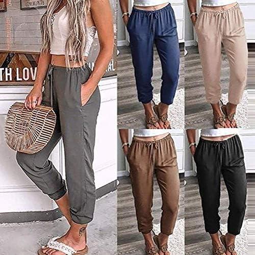Onsoyours Mujer Color Sólido Pantalones De Cintura Alta Flojo Verano Casual Pantalones Harem con Bolsillos Pantalón Deportivo con Cordones 15