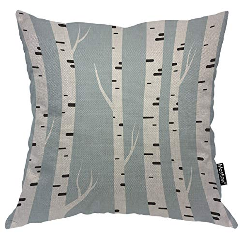 A887 Case - Moslion Birch Tree Throw Pillow Case Nature Autumn Forest Tree Trunk Wood Winter Leaf Pillow Cover Decorative Square Cushion Accent Cotton Linen 20x20 Inch for Sofa Chair