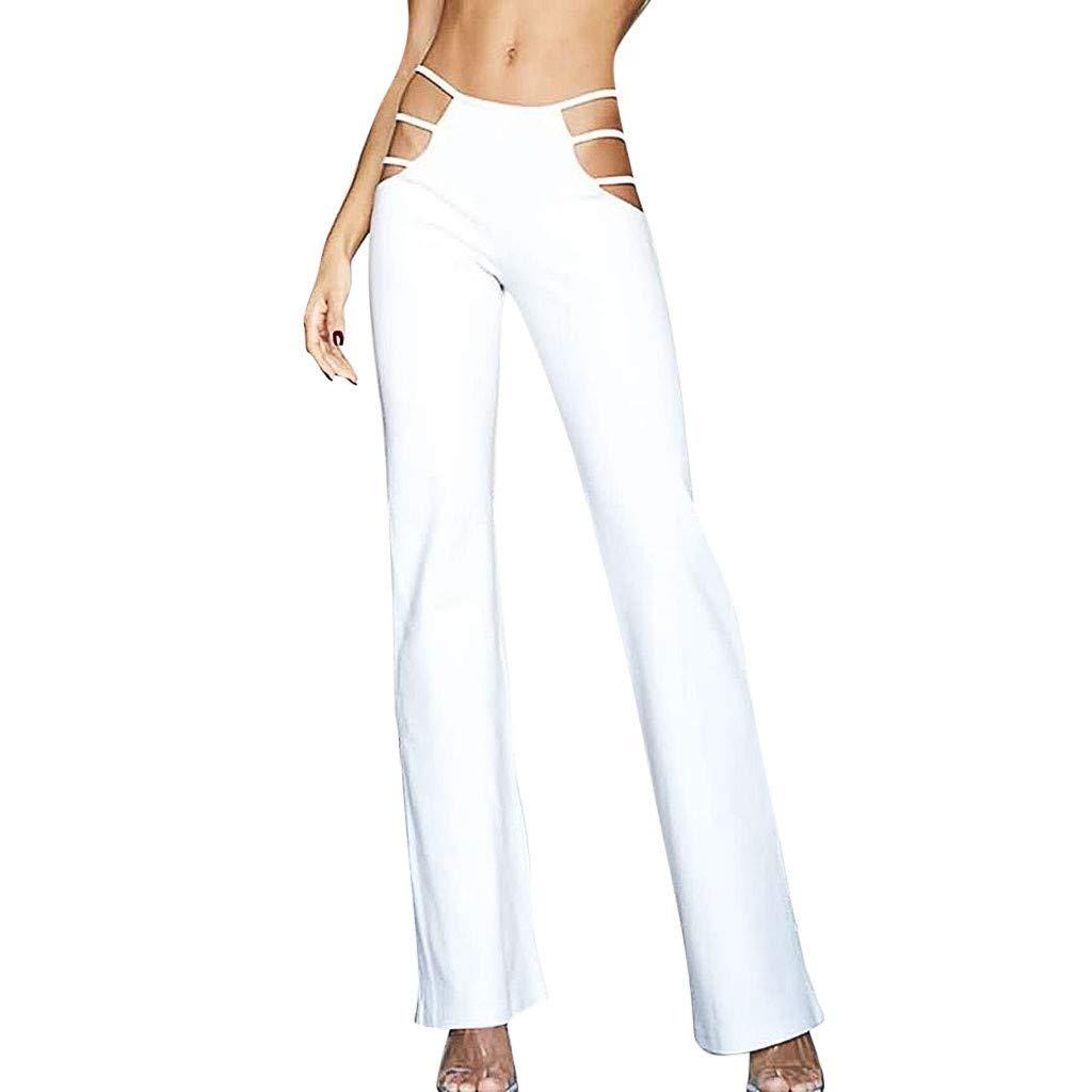 AOJIAN Yoga Pants Buttery Soft Tummy Control Hollow Out Jogger Capri Workout Running Sports Leggings for Women White