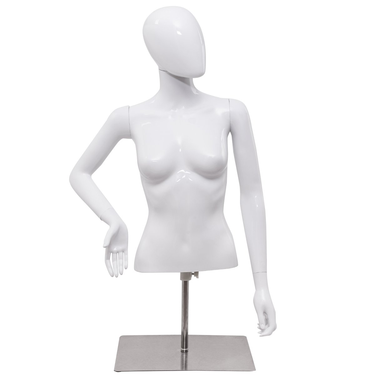 Giantex Female Half Body Mannequin Torso Dress Form Clothing Display Adjust Height & Arms with Base, Bright White HW55637