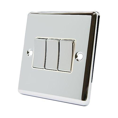 Light Switch Triple 3 Gang - Satin Matt Chrome Square - White Insert ...