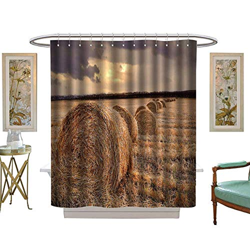 luvoluxhome Shower Curtains 3D Digital Printing Autumn Harvest Rice Fields at Dusk Custom Made Shower Curtain W54 x L78