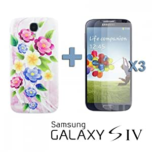 OnlineBestDigital - Carving Pattern Battery Cover for Samsung Galaxy S4 IV I9500 / I9505 - Style F with 3 Screen Protectors