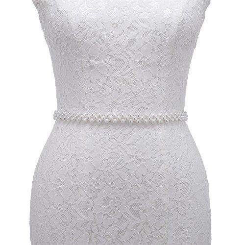 AW Bridal Sash Wedding Belt - Pearl Wedding Dress Belt with White Organza Ribbon - Silver Women Belt for ()