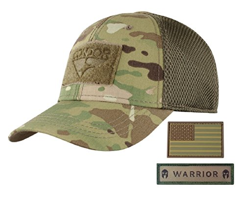 Camo Fit Flex Cap (Condor Flex Mesh Cap (Multicam) + PVC Flag & Warrior Patch, Highly Breathable Fitted Tactical Operator Hat (L/XL))