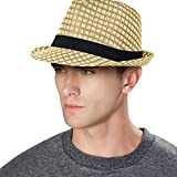 Summer Beach Straw Fedora Hat w/ Solid Hat Band, Beige, LXL