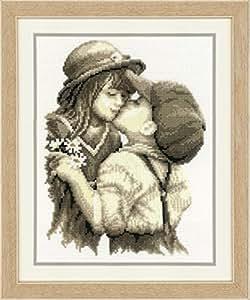 Vervaco - Kit de punto de cruz para cuadro (diseño de niños dándose un beso, tela Aida)