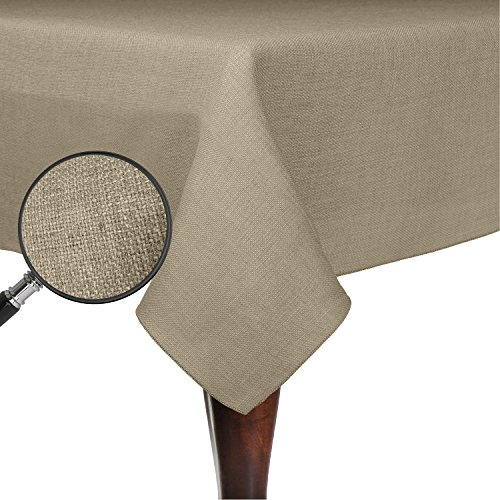 Ultimate Textile (5 Pack) Faux Burlap - Havana 60 x 120-Inch Rectangular Tablecloth - Basket Weave, Natural by Ultimate Textile