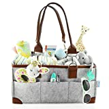 Baby Diaper Caddy Organizer - Portable Storage Basket - Essential Bag for Nursery, Changing Table and Car - Good for Storing Diapers, Bottles, Baby Wipes, Baby's Toys  Pacifiers-Gray Leather Handle